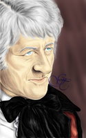 Jon Pertwee as the Third Doctor by Giu-sama