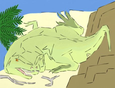 A Cubist Tyrannosaur Painted by dracontes