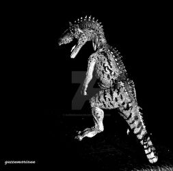 Cryolophosaurus Black And White Wallpaper by queenmariann