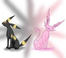Umbreon and Espeon by Wild-sin
