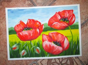 Card with poppies by Alena-48