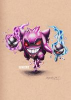 Gengar and Gastly by ekronic