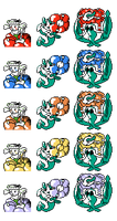 Flabebe Floette Florges GSC Sprites Normal Colours