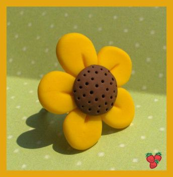 Polymer clay sunflower ring by merylu