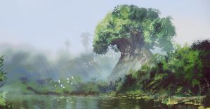 Land of birth - the holy Iroko tree by Roiuky