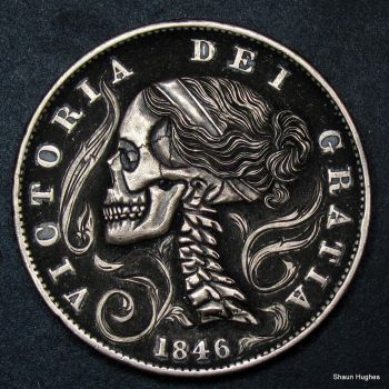 Hand Carved Skull Penny by Shaun Hughes by shaun750