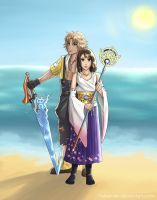 Tidus and Yuna by Scarlet---Sky