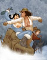 Battling Babes on the Dogsled of DOOM by ArtbroSean