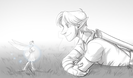 Ocarina Link and Fairy laying down by Bonka-chan