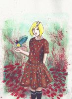girl with the bird by edding142