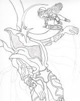 FFXI Line Art - Fnar and Promathia by Drowin