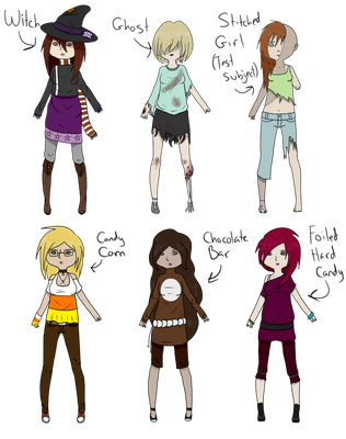 Halloween Female Adopts -Open- 20 Points Each! by Gothalla123