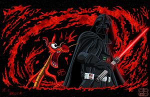 Dailey Drawing - Mushu Vs Darth Vader by RCBrock