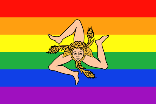 LGBT Pride Flag of Sicily - 2nd variant by TheFlagandAnthemGuy