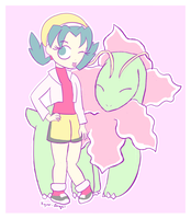 Pokemon Crystal: Kris and Meganium by kyuze-angel