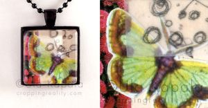 Wearable art - abstract collage pendant 3 by ukapala