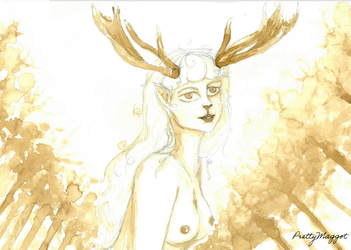 Deer girl (coffee painting) by PrettyMaggot
