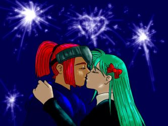 Firework-lit kisses by TheDreamingArtist