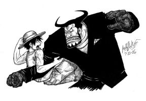 Luffy vs. Blueno by KaleiC