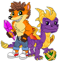 Pixel: Crash and Spyro by StephDragonness