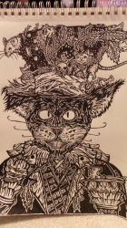 Doodle #2: Mad Hatter Cat by KeyboardingChihuahua