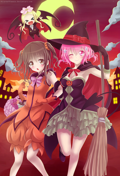 Momo And Mikan - Happy Halloween by Ric9Duran