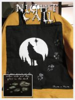 Night Call -silhouette design on fabric bag by SaQe
