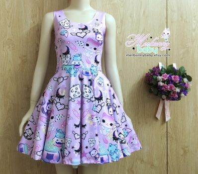 Magic cats - cute Halloween skater dress by tho-be
