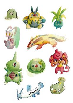 Misc Pokemon Watercolor Practise 06 by k-hots