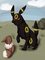 .: Umbreon and Eevee :. by Leopard-Of-Shadows