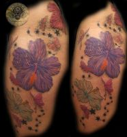 Butterfly Flowers color final by 2Face-Tattoo