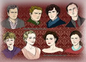 Characters and Faces - BBC Sherlock by sketchditto