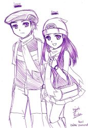 Lucas and Dawn Sketch by Azelilia