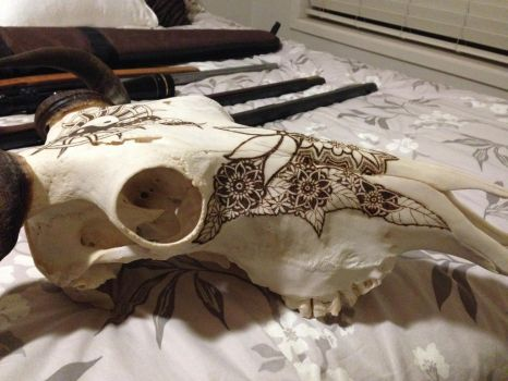 Wildebeest Skull Pyrography (Part4) by DC-Pyrography