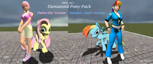 Humanoid Pony pack: Fluttershy and Rainbow Dash by MikotoNui