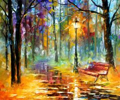 Red Bench by Leonid Afremov by Leonidafremov