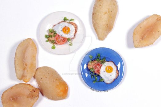Egg and tomato on toast - 1:12th scale miniature by sugarcharmshop