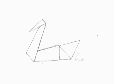 Quick drawing of a origami swan. by Pesian