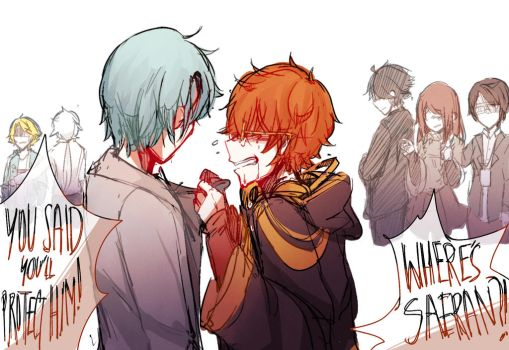 i wanted to draw some 707 angst haha by Lillipyon
