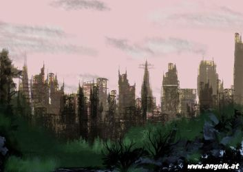 Speed Paint- Cityscape by slicedguitars