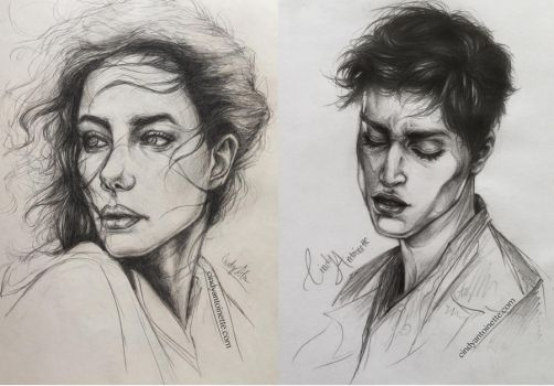 Girl and Boy (sketch studies) by Amourinette