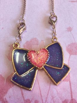 Heart Bow Necklace by bittykitty