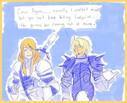 Agrias and Ramza chattin by OOKiiKuN