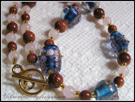 Colorful Rose Quartz and Goldstone Necklace by vibrantmelodydesigns