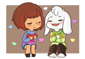 Frisk and Asriel by caoroux