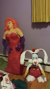Papermache Jessica and Roger Rabbit by disneyfangirl774