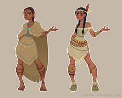 Native American Characters Two Versions by SilverVanadis