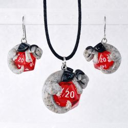 D20 Dragon Earring and Necklace Set by HowManyDragons