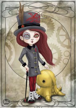 Mechanic pet. Steampunk illustration. by Lauramei