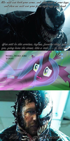 Venom is about to eat Queen Chrysalis by Negaboss2000